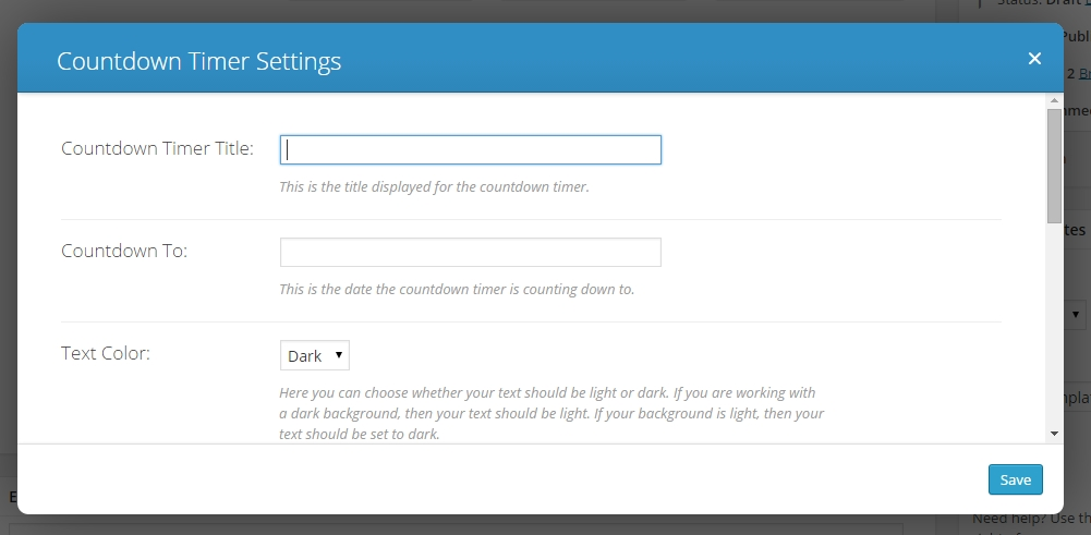 divi countdown timer settings