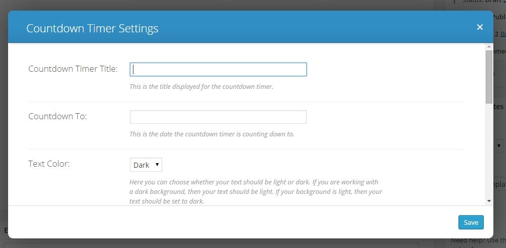 divi countdown timer settings