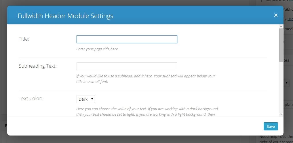 divi fullwidth header module settings