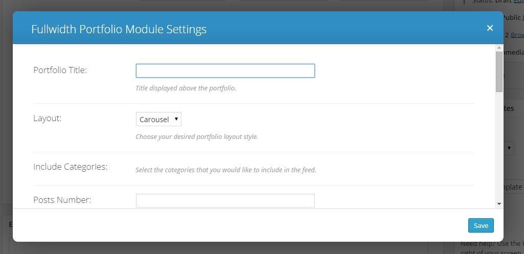 divi fullwidth portfolio settings